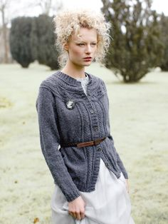Frosty - Knit this ladies round neck cardigan from Rowan Knitting & Crochet Magazine 58, a design by Sarah Hatton using the gorgeous yarn Felted Tweed (wool.) With a cabled yoke band which is worked sideways, this knitting pattern is suitable for the more advanced knitter.