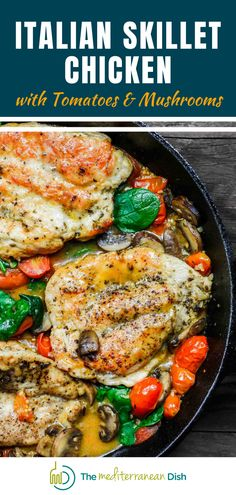 This is an easy and amazing weeknight meal for your family to enjoy. Italian Skillet Chicken has tomatoes and mushrooms and tons of flavor that makes this dish out of this world! Best of all it is easy to prepare. Italian Chicken Recipes, Chicken Skillet Recipes, Chicken Breast Recipes Healthy, Healthy Pasta Recipes, Quick Chicken Dishes, Italian Chicken Breast, Yummy Recipes, Chicken Recepies, Cooked Chicken