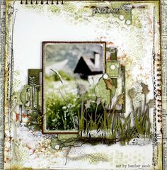 Beautiful job of creating depth with simple technique by Heather Jacob Scrapbook Page Layouts, Scrapbook Albums, Scrapbook Cards, Scrapbooking Ideas, Digital Scrapbooking, Heritage Scrapbooking, Scrapbook Embellishments, Layout Inspiration, Shabby