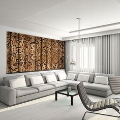 Stylowa fototapeta z motywem ornamentów wycinanych w drewnie - idealna ozdoba salonu.