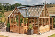 Gabriel Ash RHS Portico range Greenhouse Base, Heating A Greenhouse, Greenhouse Plans, Victorian Greenhouses, Cedar Paneling, Cedar Cladding, Cold Frame, Western Red Cedar, Garden Styles