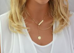 Monogram Y Necklace, Engraved Bar Necklace Gold, Silver, Rose Gold, Initial Disc, Personalized Bar Necklace, Engraved Y Necklace Gold by miniMalizBIJOUX on Etsy