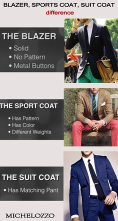 Difference between blazer, sports coat and suit coat