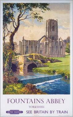 https://flic.kr/p/AowuaZ | Skell And Crossbones | Fountains Abbey, one of two World Heritage Sites in Yorkshire, and the River Skell. The ruinous twelfth century Cistercian foundation in Nidderdale is depicted in a British Railways poster of 1956. The artist is Canadian Gyrth Russell (1892-1970), born in Halifax, Nova Scotia. By this time, one of the nearest railheads to the abbey, Pateley Bridge, had closed to passengers.