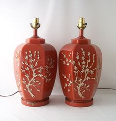 vintage lamps orange white dogwood cherry blossoms by RecycleBuyVintage, $95.00