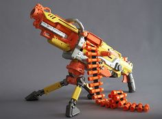 a very cool gun but takes a wile to load the chain.  in a nerf war I would use this.  a little hard to operate but still cool. NAME:vilcan