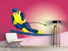 Foto #Tapete Retro-Skifahrer Retro, Home Decor, Environment, Photos, Skiers, Self Adhesive Wallpaper, Photo Wallpaper, Wall Papers, Nice Asses