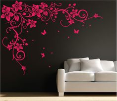Butterfly Vine Flower Wall Art Stickers, Decals 031
