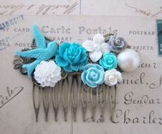 Turquoise Hair Comb Teal Blue Wedding Bridal Headpiece Bridesmaid Gift White Floral Hair Slide Something Blue Shabby Chic Bird Woodland WR