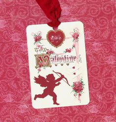 Valentine Tags Red Cupid & Flowers by luvcrystals on Etsy, $5.00