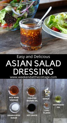 Asian Salad Dressing - Weekend at the Cottage dressing recipes Chicken Salad Dressing, Asian Dressing, Vinaigrette Dressing, Salad Dressing Recipes, Salad Dressing Healthy, Sauce Recipes, Cooking Recipes, Onigirazu, Asian Chicken Salads