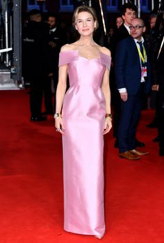 Renee Zellweger in Prada at the 2020 BAFTAs in London on February Renee Zellweger, Charlize Theron, Pink Maxi, Pink Dress, Kate Middleton, Valentino Gowns, Ralph & Russo, Gold Gown, British Academy Film Awards