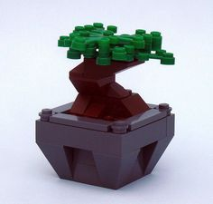 """lego-microscale: Bonsai (by """"Luke"""") So coolio! Legos, Lego Tree, Lego Furniture, Lego Sculptures, Micro Lego, Lego Boards, Lego Craft, Bonsai Art, Bonsai Trees"""