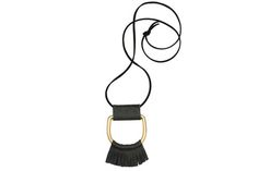 Leather Wrapped Round Fringe D-Ring Necklace