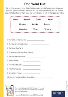 Odd Word Out - download our phizz-whizzing Oxford Roald Dahl Dictionary activity sheets now! #RoaldDahlDay #DahlDictionary Roald Dahl Stories, Roald Dahl Day, Word Out, One Word, Dictionary Activities, Activity Sheets, Oxford, Names, Writing