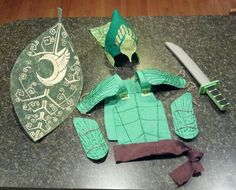 Epic Leafman Costume. This is a picture only...no link. Unfortunately, couldn't find a costume for this online. Sooo, I used heavy tackboard & gold craft paint pen for sheild. Foam board and green glitter glue for breast plate, shoulders, and gauntlets. Felt, hot glue, and gold glitter paint for helmet. Would have converted soccer shin guards to add to the outfit but a rescheduled soccer game fell after Halloween so I did not repurpose them...yet ;) Hope this gives some ideas for anyone else…