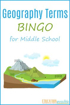 Interested ingeography games for middle school? ThisGeography Terms BINGOis the perfect printable for you to use in your home school.There are a multitude of geography termsto learn, regardless of what geography curriculum you use. It can be difficult for middle school students to keep them all straight. To make it easier for your older kids to learn and to reinforce their memory of the various terms,use this game as one of your go-to geography resources.
