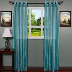 ContemporaryTextured Shimmer 55 inch x 84 Inch Grommet Curtain Panel 2-piece Set (turquoise), Blue, Size 55 x 84 (Polyester, Solid)