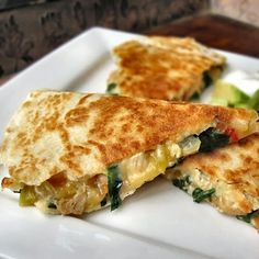 Spinach and Cannellini Bean Quesadillas Delicious!  I happened to have everything in the house to whip these up.  They were so creamy and really full of great taste.  I added corn and you could add more peppers.