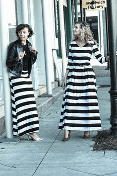Melody is a striped 3/4 sleeve maxi dress with hidden pockets and black and white stripes also available in maxi skirt