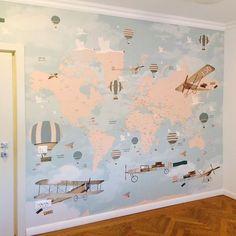 Little Hands wallpaper Mural Baby Boy Rooms, Baby Bedroom, Nursery Room, Kids Bedroom, Nursery Ideas, Little Hands Wallpaper, Kids Room Wallpaper, Map Wallpaper, World Traveler Nursery