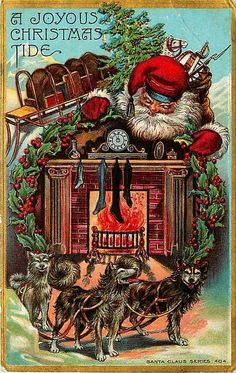 Christmas 1908 Santa Claus Sled Dogs Toys Antique Vintage Embossed Postcard #Christmas #antique #vintage #collectible #postcard