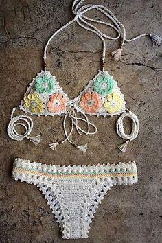 Pretty Pastels! Pastel Flower Pattern Halter Crochet Bikini Set #Floral #Pastel #Lace #Crochet #Bikini #Fashion: