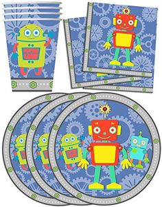 Robot Birthday Party Supplies Set Plates Napkins Cups Tableware Kit for 16 - http://www.partysuppliesanddecorations.com/robot-birthday-party-supplies-set-plates-napkins-cups-tableware-kit-for-16.html