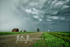 Storm rolling in by a farm near Vibank, Saskatchewan.