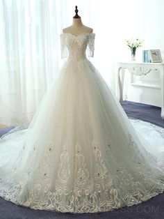 ericdress.com offers high quality Ericdress Elegant Off The Shoulder Ball Gown Lace Wedding Dress With Sleeves Wedding Dresses 2016 unit price of $ 208.31.