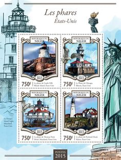 Post stamp Niger NIG 15124 aLighthouses (Castle Hill lighthouse, Rhode Island, USA, {…}, Portland Head lighthouse, Maine, USA)