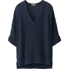 UNIQLO Women Tape Yarn Half Sleeve Sweater ($20) ❤ liked on Polyvore featuring tops, sweaters, shirts, t-shirts, blue top, elbow sleeve shirt, loose shirts, elbow length shirts and blue shirt