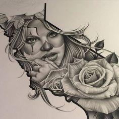 Chicano Arte More Mehr Chicano Tattoos, Chicano Drawings, Body Art Tattoos, Girl Tattoos, Sleeve Tattoos, Tattoo Sketches, Tattoo Drawings, Mago Tattoo, Catrina Tattoo