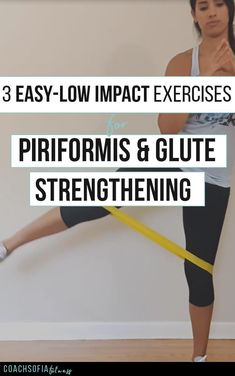 3 Easy low impact exercises for piriformis and glute strengthening. These are rehab exercises to help you activate the glute medius muscle and mobilize the piriformis muscle. You don't NEED a loop band, you can do this workout with your own bodyweight Loop Band Exercises, Back Exercises, Yoga Exercises, Piriformis Exercises, Stomach Exercises, Abdominal Exercises, Sciatica Stretches, Genu Varo, Trauma