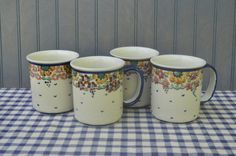 $8.90 each ✿ bluefolkhome on etsy ✿  Polish Mugs Polish Boleslawiec Ceramic Handcrafted Mugs Made in Boleslawiec Poland - 3 Are Left - I Ship Internationally