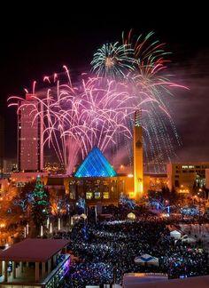 Fireworks over City Hall, Edmonton, Alberta, Canada
