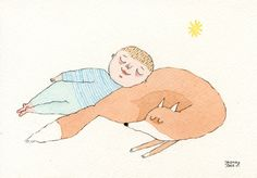 Sweet Dreams // Fox & Boy // Watercolour by Joana Rosa Bragança on Etsy