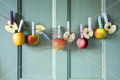 Apples hanging on a washing line Fruit Decorations, Pin Up, Canning, My Love, Amazing, Cake, Apples, Food, Kuchen