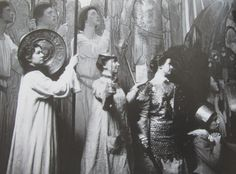 Artists red rose girls posing  in front of Violet Oakley's mural at all angels church upper nyc 1900