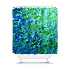 SPLASH into THE DEEP Ocean Waves Fine Art Abstract Painting Shower Curtain by EbiEmporium, Modern Colorful Bathroom Decor Accessories Elegant Teal Royal Blue Indigo Lime Mint Green Turquoise Aqua Whimsical Ombre Ocean Sea Seaside Nautical Coastal Water Contemporary Stylish Home Decor Ensuite Dorm Decoration