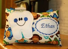 Tooth Fairy Pillow-Monkey Pillow-Boys Tooth Fairy by 4Brig on Etsy