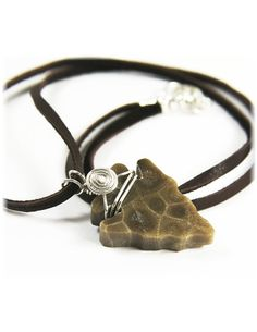 """Petoskey Stone 18"""" Necklace, Arrow Head, Deerskin Lace, Sterling Silver, by SimplyWired4u"""