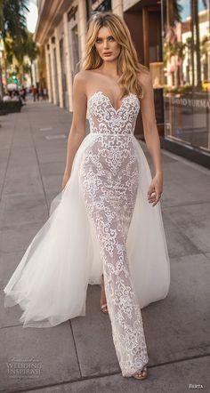 berta 2019 muse bridal strapless sweetheart neckline full embellishment elegant sexy sheath wedding dress a line overskrt chapel train (6) mv -- Muse by Berta 2019 Wedding Dresses | Wedding Inspirasi #wedding #weddings #bridal #weddingdress #bride ~