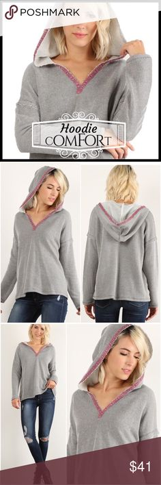 Coming Soon!! Hoody Comfort Coming Soon!! Hoody Comfort; waffled thermal fabric; has tonal pink embossed ribbon trim makes this comfortable hoodie different than the common hoodie; layered effect on sleeves. Boutique Tops Sweatshirts & Hoodies