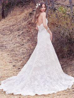 Genoa | Maggie Sottero | Available at Lulu's Bridal Boutique | Lulu's Bridal | Dallas, Texas | A-line | Swarovski Crystal motif | Scoop neck | V-Back |