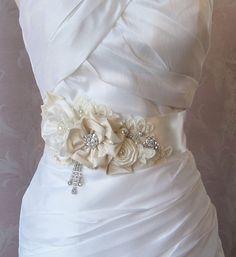 Elegant Ivory Bridal Sash, Rhineston and Pearl Wedding Belt, Flower Sash, White, Custom Colors - GRANDE PROMENADE on Etsy, $206.45 AUD