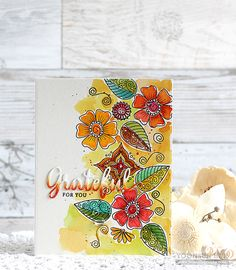 Simon Says Stamp STAMPtember® Grateful For You card by Yoonsun Hur! https://www.simonsaysstamp.com/product/Simon-Says-Clear-Stamps-HENNA-PATTERNS-SSS101641-STAMPtember-SSS101641
