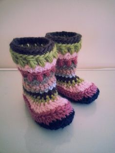 Handmade Crochet Kids Slippers Booties Boots by hookata on Etsy