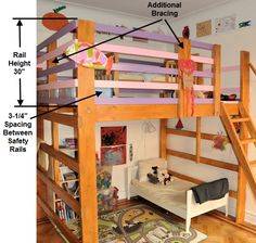 Loft Bed with Play Area above...  this is what I want.  I will make it.  ...if it kills me.