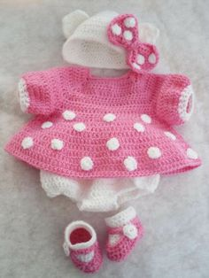 "Handmade crochet Hello Kitty style set for Marvel Peterkin or14/16"" Reborn Doll"